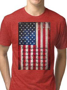 Vintage American Flag And 2nd Amendment On Old Wood Planks Tri-blend T-Shirt