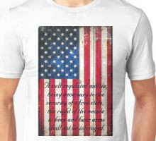 Vintage American Flag And 2nd Amendment On Old Wood Planks Unisex T-Shirt