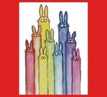 Rainbow of Bunny Rabbits Watercolor One Piece - Long Sleeve