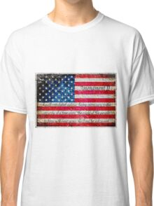Distressed American Flag And Second Amendment On White Bricks Wall Classic T-Shirt