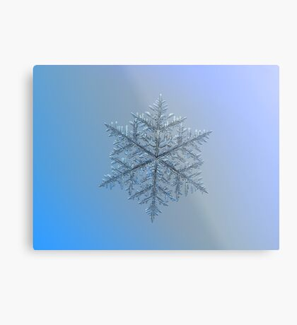 Majestic crystal, real snowflake macro photo Metal Print