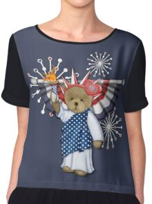 Patriotic Liberty Bear on Blue Chiffon Top