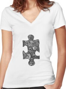 The Missing Piece Women's Fitted V-Neck T-Shirt