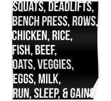 Bodybuilding List For Gains Poster