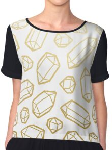 Gold and White Gemstone Pattern Chiffon Top