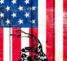 Viper On American Flag On Old Wood Planks Vertical Sticker