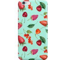 Watercolor berries: strawberry, cherry, raspberry, redcurrant iPhone Case/Skin