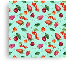 Watercolor berries: strawberry, cherry, raspberry, redcurrant Canvas Print