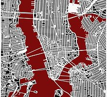 Map of Manhattan - Red  by aocimages