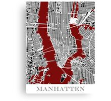 Map of Manhattan - Red  Canvas Print