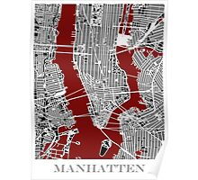 Map of Manhattan - Red  Poster
