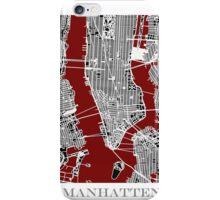 Map of Manhattan - Red  iPhone Case/Skin
