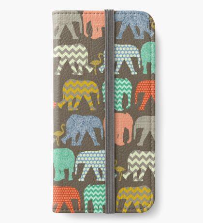 baby elephants and flamingos savannah iPhone Wallet/Case/Skin