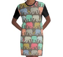baby elephants and flamingos dark linen Graphic T-Shirt Dress