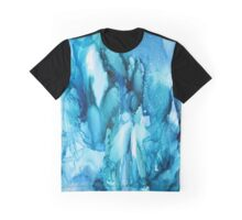Blue Waterfall Abstract alcohol ink Graphic T-Shirt