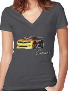 car7 Women's Fitted V-Neck T-Shirt