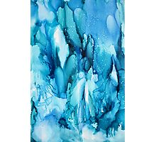 Blue Waterfall Abstract alcohol ink Photographic Print