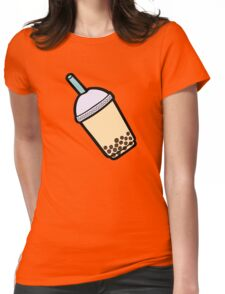 Bubble Tea Pattern in Red Womens Fitted T-Shirt