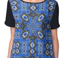 Abstract in Blue & Gray Chiffon Top
