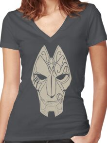 League Of Legends Jhin's Mask Women's Fitted V-Neck T-Shirt