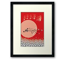 Oriental Swallows And The Bright Round Moon Framed Print