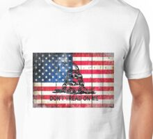 Viper On American Flag On Old Wood Planks Unisex T-Shirt