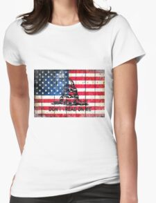 Viper On American Flag On Old Wood Planks Womens Fitted T-Shirt