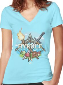 Hyrule Survival Training Women's Fitted V-Neck T-Shirt