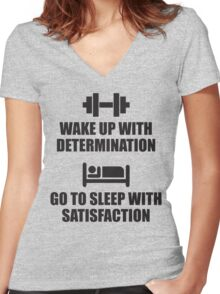 Wake Up With Determination Women's Fitted V-Neck T-Shirt