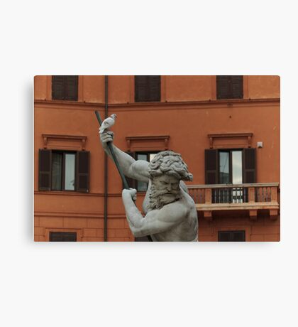 Neptune and the Dove - Fountain of Neptune, Piazza Navona, Rome, Italy Canvas Print