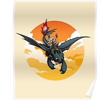 Toothless Targaryen Orange Poster