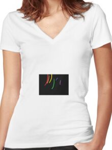 Oil-Brush Pride LGBTQ Women's Fitted V-Neck T-Shirt