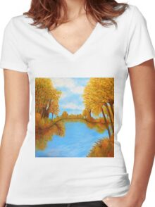 Autumn Reflections Women's Fitted V-Neck T-Shirt
