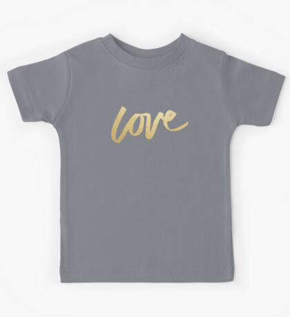 Love Gold Black Typography Kids Tee
