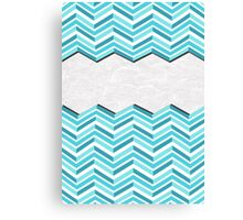 Turquoise Shades Chevron Stripes Canvas Print