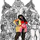 Vampirella and Fiends at the entrance of golden, pearly gates of HEATHEN...!!! by L Llewellyn James