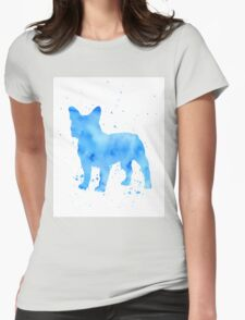 French bulldog watercolor splatter Womens Fitted T-Shirt