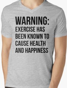 Warning - Exercise Causes Health and Happiness Mens V-Neck T-Shirt
