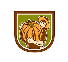 Organic Farmer Holding Pumpkin Shield Retro by patrimonio