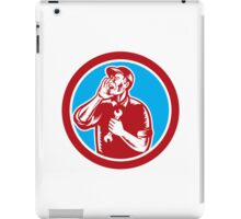 Mechanic Calling Out Holding Hand Spanner Retro iPad Case/Skin