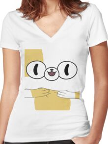 Adventure Time - Cake The Cat Women's Fitted V-Neck T-Shirt