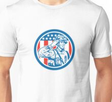 Soldier Military Serviceman Salute Circle Retro Unisex T-Shirt