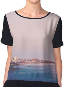 Santa Monica Pier Strawberry Moon Chiffon Top