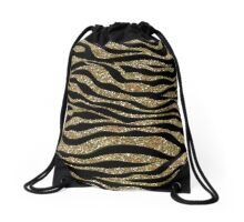 Gold Zebra Sparkle Drawstring Bag