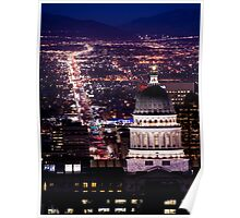 Utah Capitol And State Street At Night Poster