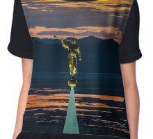 Bountiful Sunset - Moroni Statue - Utah Chiffon Top