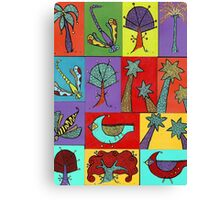 Block quilt colorful trees and bugs and birds Canvas Print