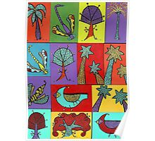 Block quilt colorful trees and bugs and birds Poster