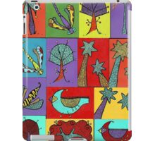 Block quilt colorful trees and bugs and birds iPad Case/Skin