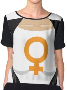 Superhero woman tearing open shirt to reveal female symbol Chiffon Top